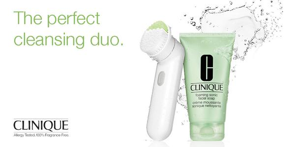 Sonic Brush, foaming, soap, clean, skin, clinique