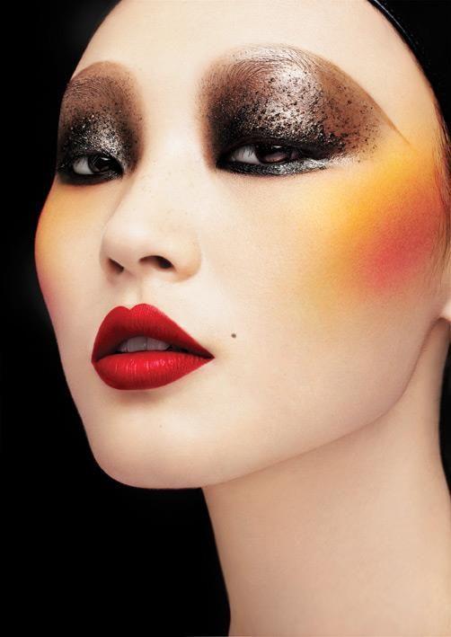 Bold, lips, eye, red, smokey, black