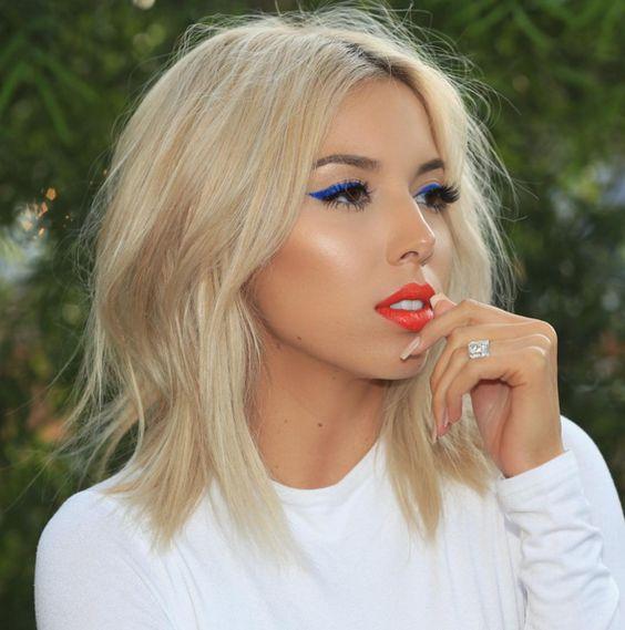 4th of July Makeup look, blue eye liner