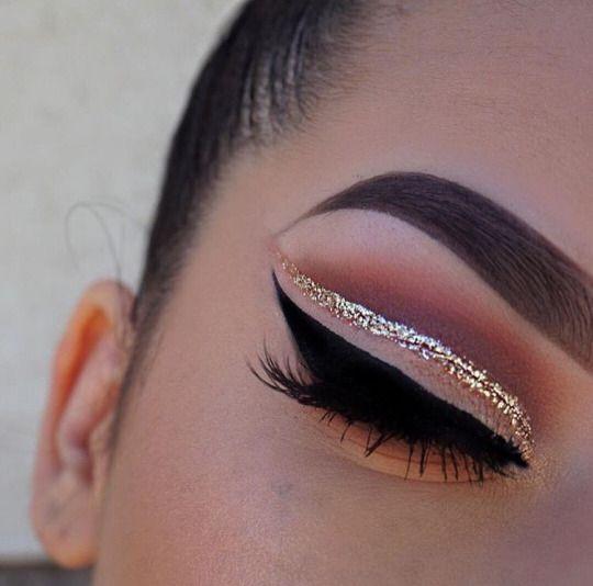 cut crease glitter, eyeshadow, gold